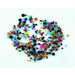 Perles de rocaille en verre, forme mixte et la taille mixte, couleur mixte, taille: 2~6 mm de long,  largeur de 2~5 mm, épaisseur de 2~5mm, Trou: 1mm, environ 24000 pcs/500 g(MACR-S139)