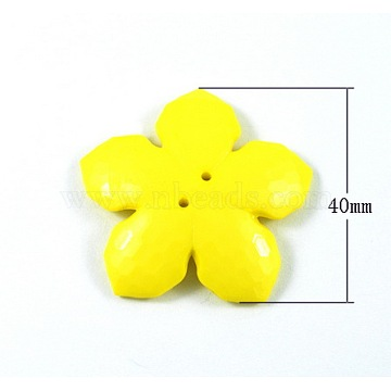 Colorful Acrylic Buttons, Large Buttons, Two Drilled Hole, Faceted, Flower, Yellow, Size: about 40mm in diameter, 7mm thick, hole: 1mm, about 115pcs/500g(MACR-S066-1-1)