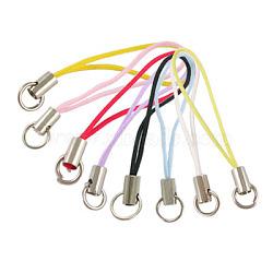 Ремешок для мобильного телефона, красочные поделки сотовый телефон ремни, латунь конец с железными кольцами, разноцветные, длиной около 45 мм , кольцо: около 7мм диаметром(MOBA-B011)