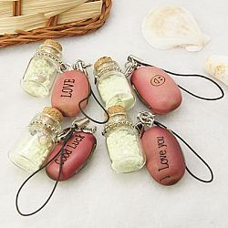 Fashion Mobile Phone Straps, with Shell, Beans, Coral Island Sand and Brass Findings, Light Coral, 87mm(MOBA-H041-M)