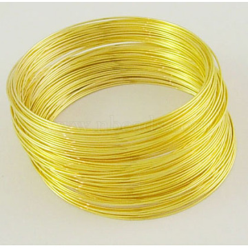 Steel Memory Wire,for Bracelet Making,Golden,55mm,Wire: 0.6mm(22 Gauge),2200 circles/1000g(MW5.5CM-G)