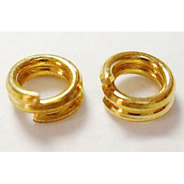 Iron Split Rings, Cadmium Free & Lead Free, Golden, 6mm in diameter, 1.4mm thick; about 5.3mm inner diameter, about 11000pcs/1000g(NFDJRG6MM)