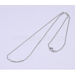 """Colliers de chaîne de câble unisexe pour hommes unisexe classique plaine 304 en acier inoxydable, couleur inoxydable, 19.5""""~19.8"""" (49.5cm ~ 50.5cm); 2x1.5mm(NJEW-507L-7)"""