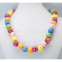Colorful Wood Necklaces, Gifts For Children's Day, Lead Free, Dyed, Colorful, Size: about 16inches long(NJEW-JN00179)