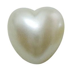 Amateurs jour idées cadeaux cabochons acryliques, style perle imitée, cœur, blanc, taille:  Largeur environ 8mm, Longueur 8mm, épaisseur de 3.5mm(OACR-H007)