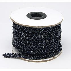 Perles de rocaille de la moelle, verre, noir, 6mm, 10m/rouleau(OCOR-H003-4)