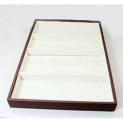 Boîtes présentation en similicuir, blanc, 345x240x30mm(ODIS-A001-2)