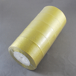 Glitter Metallic Ribbon, Sparkle Ribbon, DIY Material for Organza Bow, Double Sided, Goldenrod, 1-5/8inches(40mm), 25yards/roll(22.86m/roll), 5rolls/set(ORIB-40mm-G)