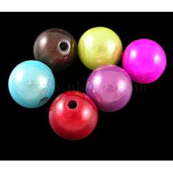 Perles acryliques laquées, perles de miracle, Perle en bourrelet, rond, couleur mixte, 10mm, trou: 2 mm; environ 950 pcs / 500 g(PB9285)