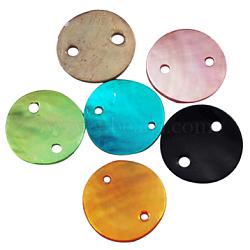 Mère de liens de perles, plat rond, couleur mixte, environ 13 mm de diamètre, épaisseur de 1mm, trou: 1 mm. 2 trous(PBB373Y)