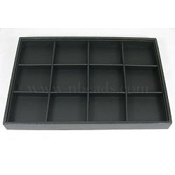 Plateaux d'affichage en bois empilables couverts par skaï noir, 12 compartiments, noir, 35x24x3 cm(PCT106)