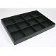Plateaux d'affichage en bois empilables couverts par skaï noir(PCT106)-2