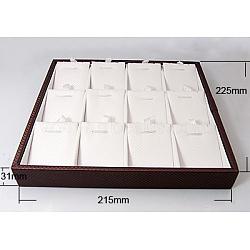 Искусственная кожа коробки кулон дисплей, белые, 225x215x31 мм(PDIS-A001-4)
