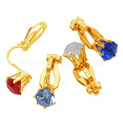 Clip environ boucles d'oreilles en laiton, dorée, environ 8.5 mm de large, Longueur 18mm(PFE005-G)