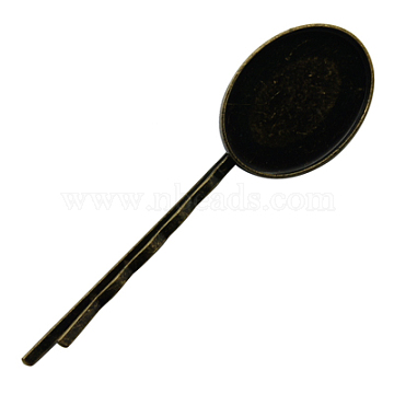 Iron Hair Bobby Pin Findings, with Brass Oval Trays, Antique Bronze, 67x19mm; Tray: 18x25mm(PHAR-A001-AB)