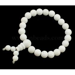 Будда бисера браслет, нефрит, окрашенные, белые, о 6 cm внутренним диаметром; бисера: около 8 mm диаметром(PJBR002C6)