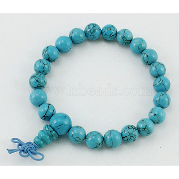 Mala Bead Bracelet, Turquoise, about 6cm inner diameter, Beads: about 8mm in diameter(PJBR002C2)