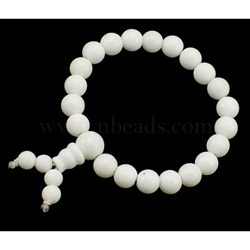 Mala Bead Bracelet, Natural Jade, Dyed, White, about 6cm inner diameter, Beads: about 8mm in diameter(PJBR002C6)