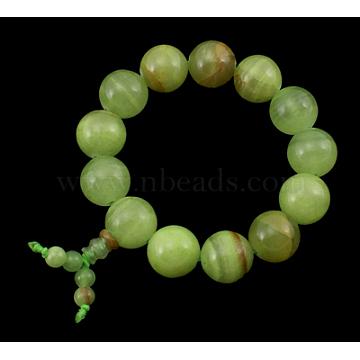 Buddha Mala Beads Bracelet, Round Natural Jade Bracelet, about 6.5cm inner diameter; Beads: about 16mm in diameter(PJBR006-27)