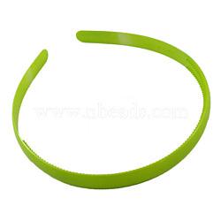 Accessoires de bande de cheveux en plastique, verte,  largeur de 8 mm(PJH103Y-7)