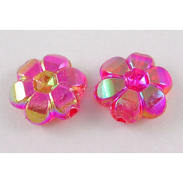10mm Red Flower Acrylic Beads