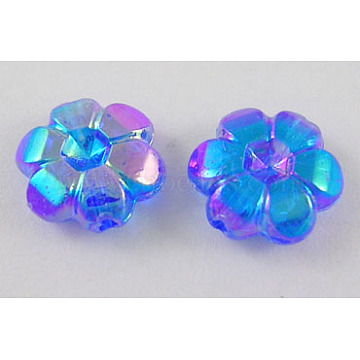10mm Blue Flower Acrylic Beads
