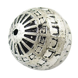 Antique Acrylic Beads, Round, Antique Silver, about 20mm in diameter, hole: 2mm, 125pcs/500g(PLS066Y)