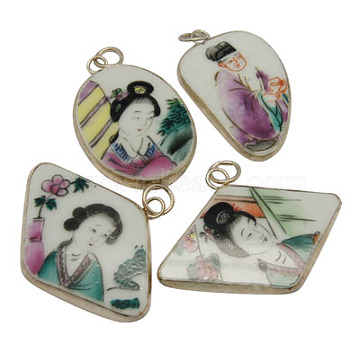 Handmade Porcelain Pendants, with Brass Findings, Famille Rose Porcelain, Mixed Color, Size: about 30~5mm wide, 44~52mm long, 4mm thick, hole: 6mm(PORC-H006)