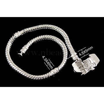 Brass European Style Bracelets with Brass Clasp, without Sign, Platinum Color, about 16cm long, 3mm thick, 2mm hole(PPJ008Y)