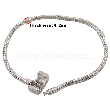 Brass European Style Bracelets, with Brass clasp, Clasp with Love Sign, Platinum Color, about 18cm long, 3mm thick, clasp: 8mm long, 10mm wide(PPJ013Y)