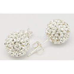 Cadeau de Saint Valentin pour son oreille en argent sterling strass autrichien cristal strass, rond, 001 _crystal, 20x10x1mm(Q286G011)