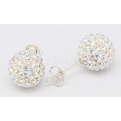 Clou d'oreille en argent sterling cristal autrichien strass, rond, 101 _crystal + ab, 20x10x1mm(Q286G021)