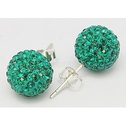 Clou d'oreille en argent sterling cristal autrichien strass, rond, 205 _emerald, 20x10x1mm(Q286G041)