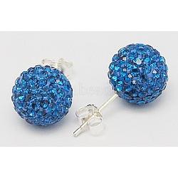Clou d'oreille en argent sterling cristal autrichien strass, rond, 243 bleu _capri, 20x10x1mm(Q286G131)