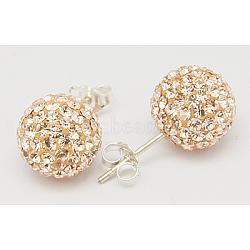 Cadeau de Saint Valentin pour son oreille en argent sterling strass autrichien cristal strass, rond, 391 _silk, 20x10x1mm(Q286G201)