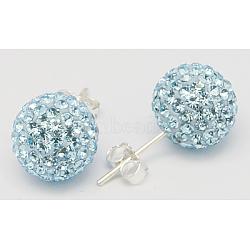 Boucles d'oreilles argent sterling strass cristal autrichien rotule de pour fille, rond, aigue-marine, environ 8 mm de diamètre, Longueur 20mm, épaisseur de 1mm(Q286H031)