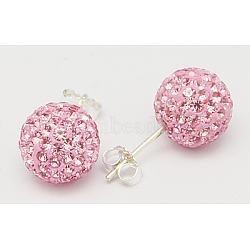 Boucles d'oreilles argent sterling strass cristal autrichien rotule de pour fille, rond, rose clair, environ 8 mm de diamètre, Longueur 20mm, épaisseur de 1mm(Q286H111)