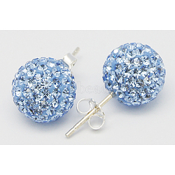 Sexy valentines cadeaux de jour pour son argent sterling strass cristal autrichien balle boucles d'oreille, 211 _light saphir, environ 6 mm de diamètre, Longueur 15mm, pin: 0.8 mm d'épaisseur(Q286J081)