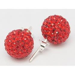 Sexy valentines cadeaux de jour pour son argent sterling strass cristal autrichien balle boucles d'oreille, 227 _light siam, 15x6mm, pin: 0.8 mm(Q286J121)
