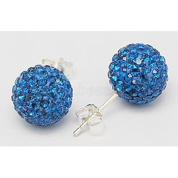 925 Sterling Silver Austrian Crystal Rhinestone Ear Stud, Round, 243_Capri Blue, 20x10x1mm(Q286G131)