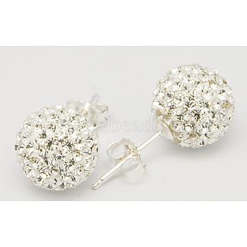 20mm Sterling Silver + Austrian Crystal Stud Earrings