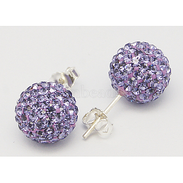 Gifts for Her Valentines Day Sterling Silver Austrian Crystal Rhinestone Ball Stud Earrings for Girl, Round, 539_Tanzanite, 17x8mm(Q286H221)