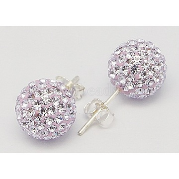 Sexy Valentines Day Gifts for Her 925 Sterling Silver Austrian Crystal Rhinestone Ball Stud Earrings, 371_Violet, 15x6mm, Pin: 0.8mm(Q286J191)