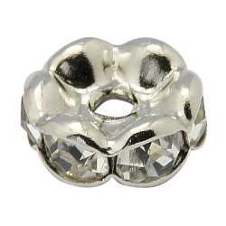 Cuivres clairs perles strass, grade AAA, bord ondulé, sans nickel, rondelle, platine, 17x5mm, Trou: 2.8mm(RB-A014-L17mm-01P-NF)