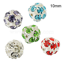 Brass Rhinestone Beads, with Iron Single Core, Grade A, Silver Color Plated, Round, Mixed Color, 10mm in diameter, Hole: 1mm(RB-A019-10mm-S)