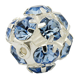 Brass Rhinestone Beads, with Iron Single Core, Grade A, Silver Color Plated, Round, Light Sapphire, 6mm in diameter, Hole: 1mm(RB-A019-6mm-04S)