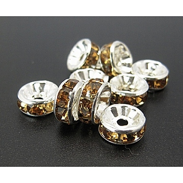 8mm Coffee Rondelle Brass + Rhinestone Spacer Beads