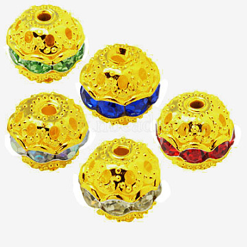 Brass Rhinestone Beads, Grade A, Golden Metal Color, Round, 10mm in diameter, Hole: 1.2mm(RB-A011-10mm-G)