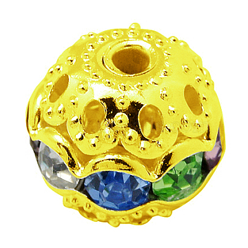 Brass Rhinestone Beads, Grade A, Golden Metal Color, Round, Colorful, 6mm, Hole: 1mm(RB-A011-6mm-37G)