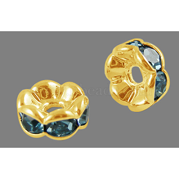 Brass Rhinestone Spacer Beads, Grade AAA, Wavy Edge, Nickel Free, Golden Metal Color, Rondelle, Aquamarine, 6x3mm, Hole: 1mm(RB-A014-L6mm-03G-NF)